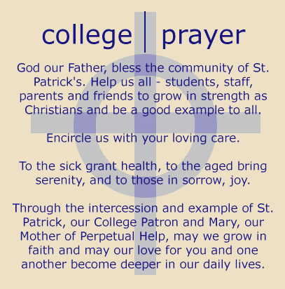 College Prayer St Patrick S College Mackay Senior Catholic High School